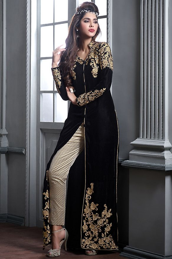Black and Beige Velvet Embroidered Party Wear Suit