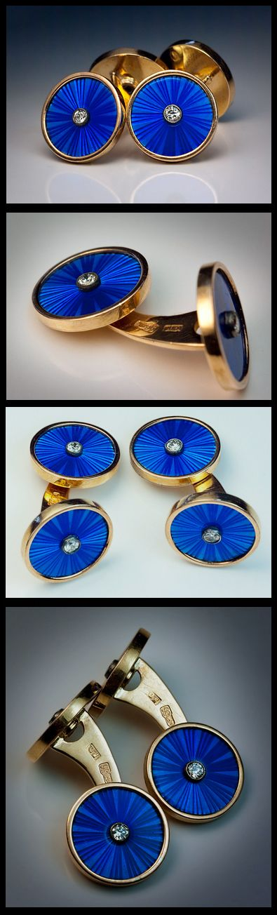 Antique Russian Imperial Era Double Cufflinks; made in St Petersburg between 1908 and 1917; embellished with blue translucent guilloche enamel. Each enameled disc is set with a brilliant diamond. The cufflinks are marked with 56 zolotnik old Russian gold standard (14K – 583 gold) / St Petersburg assay office and maker's initials 'N.D.' Diameter of the enamel discs – 15 mm