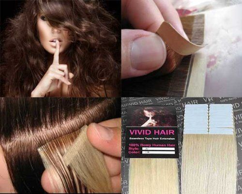 """20 Pcs X 18"""" inches Remy Seamless Tape Skin weft Human Hair Extensions Color #11 Lightest Blonde by Vivid Hair. $69.99. Weight : 35 Grams / 20 Pieces. Pieces: 20pc. Length : 18"""" inches + 100% Silk Straight Remy Human Hair. Color #11 Lightest Blonde. Width: 1.5"""" inches each piece + Durable Adhesive. Tape extensions are reusable, seamlesshair extensionsthat are pre taped and made from high quality 100% human hair. It requires no adhesives on the scalp, no weaving, braiding..."""