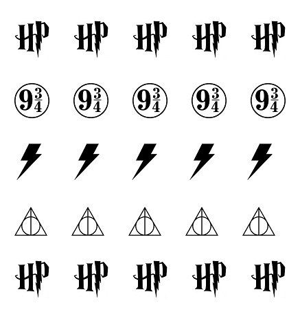Harry Potter Icons set includes: 10 Harry Potter HP Initials 5 Train Platform 9 3/4 5 Lightning Bolt Scars 5 Deathly Hallows Symbol Total of