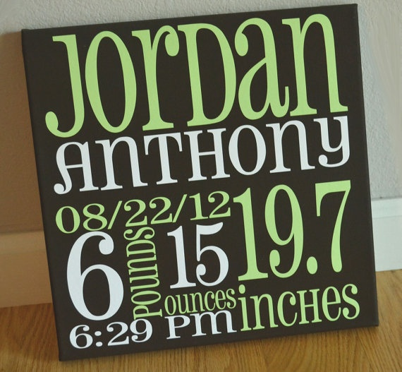 Birth Announcement Painted Canvas Subway Art