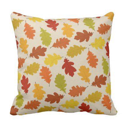 Fall Oak Leaves Pattern Beige Throw Pillow - oak gifts tree leaves style nature gift idea cyo