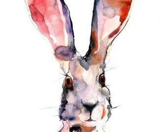 Foto di Lepre marzolina - digitale dell'acquerello stampa A4, A3, 8 x 11, 11 x 16. Arte della parete per hotel o a casa. Disegno a colori lepre acqua. Acquerello.