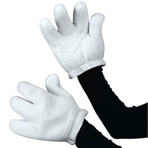 Guantes blancos de caricatura. Complementa tu disfraz de Mickey Mouse o Mimi con este accesorio.