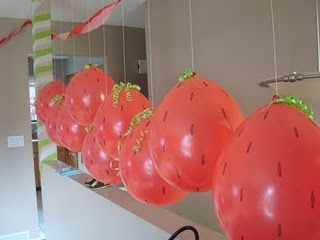 Balloons I can blow up myself. They look like strawberries!!!