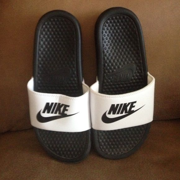 White Nike Slides Worn once. Excellent condition. Nike Shoes Sandals