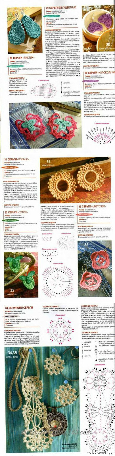 Crochet jewelry patterns! - diagrams