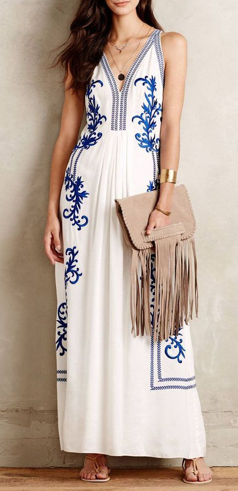 Aska Embroidered Maxi Dress