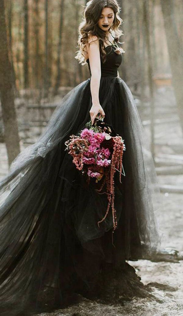 Strapless Organza Black Wedding Dresses Bridal Gowns | vestido preto in 2019 | Fancy wedding dresses, Gothic wedding, Black wedding dresses