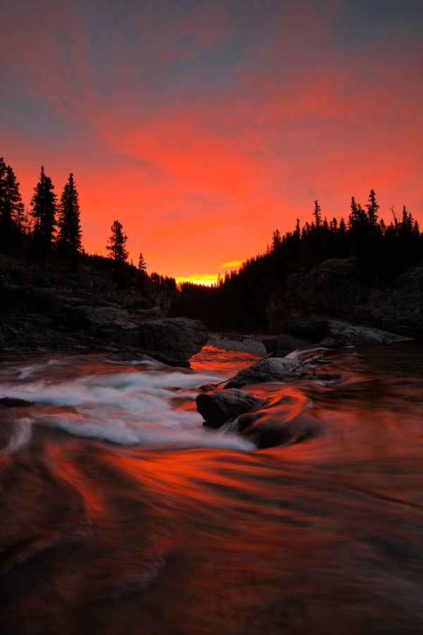 Elbow Falls sunrise at Kananaskis Country, Alberta, Canada ... at the end of the day, imagine camping by a scene like this. #GILOVEALBERTA