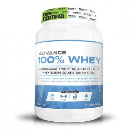 Whey Protein – Buy online advance whey protein powder. Advance 100% Whey is an isolate whey protein source rich in essential and branched-chain amino acids that are a must in your fitness diet.