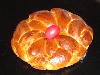 This light cake is traditionally eaten at Easter and the red painted hard-boiled egg that it is placed in the centre is an indication of this. When making at any other time of the year however, it is optional whether or not you have the red egg for decoration.