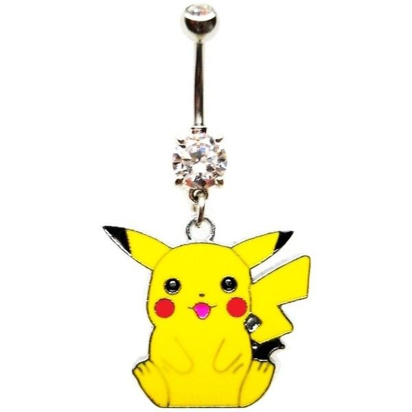 PIKACHU POKEMON CHARACTER CZ Navel Belly Button Ring Body Jewelry... (£4.88) ❤ liked on Polyvore featuring jewelry, belly rings, piercings, yellow, belly button rings jewelry, cubic zirconia jewelry, belly rings jewelry, cz jewelry and body jewelry