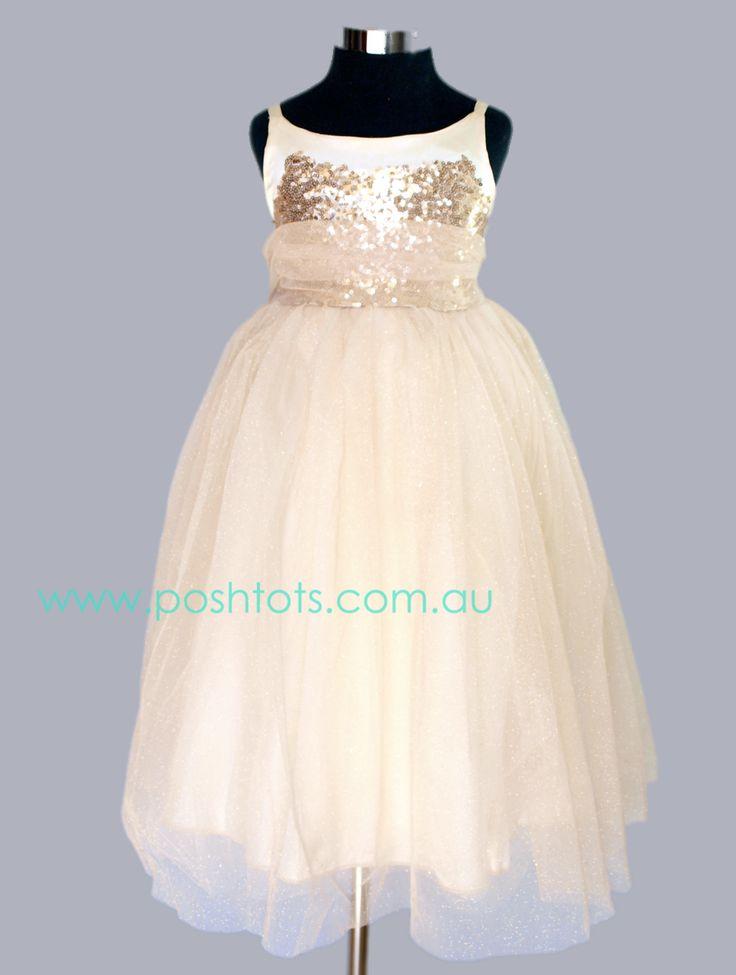 Keely - Gold girls dress in sizes 4-8. www.poshtots.com.au