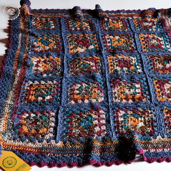 Crochet granny square colorful blanket for sofa or от LaCaccavella, €75.50