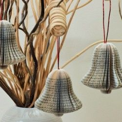 Book Art Hanging Bells by www.creatoncraftsandgifts.co.uk look great on the Christmas Tree