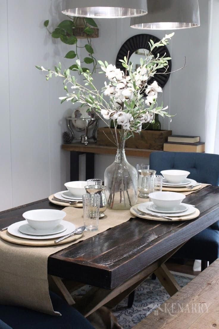 A Tall Centerpiece On A Tan Or Natural Burlap Table Runner Is A Gorgeous Idea To A Table Centerpieces For Home Dining Room Centerpiece Dining Table Centerpiece