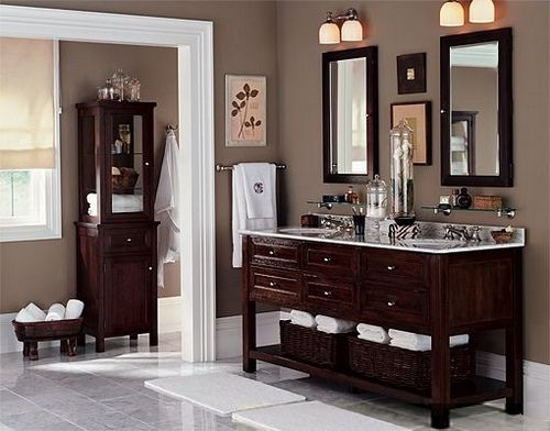 I'm looking for a bathroom vanity like this...must hit the used furniture stores!