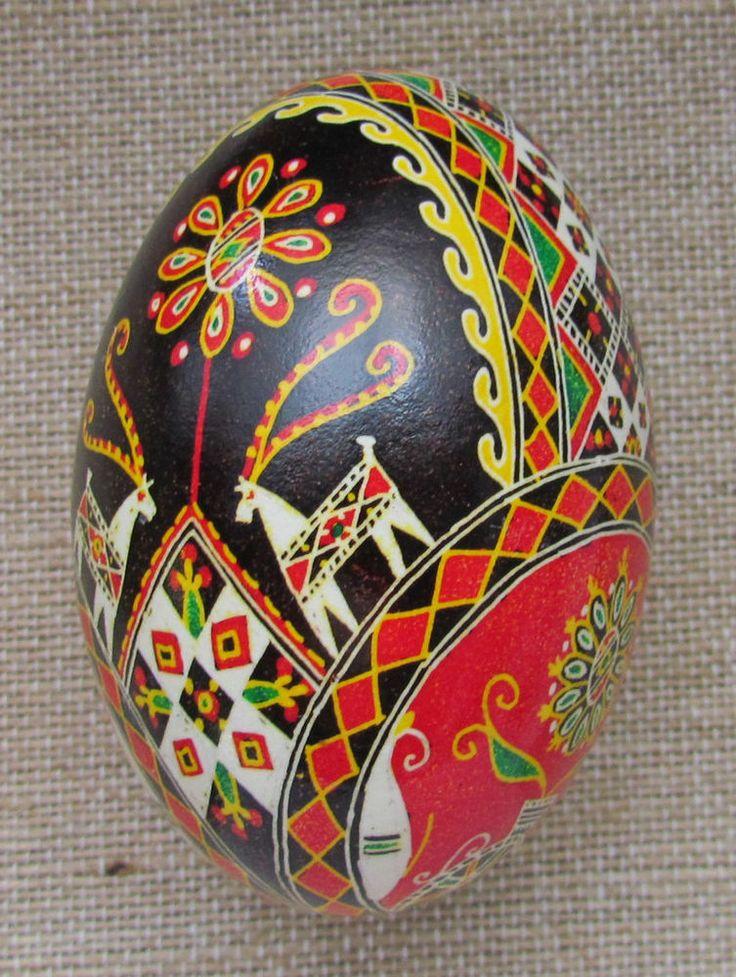 Goose Pysanka, Real Ukrainian Easter Egg, Pysanka, Deer