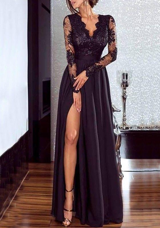 763f2a3fdd0 Robe maxi longue avec dentelle fendu le côté drapé v-cou manches longues  élégant de soirée noir