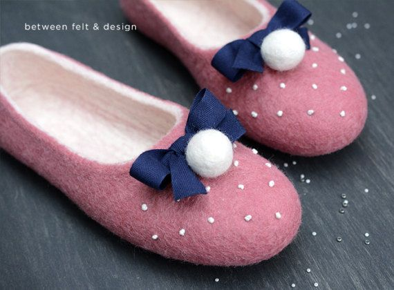 Wool clogs Women's home shoes Pink slippers Mother's