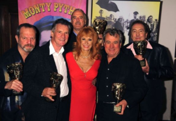 L-R: Terry Gilliam, Michael Palin, John Cleese, Carol Cleveland, Terry Jones, Eric Idle backstage with their BAFTA Awards during the Monty Python 40th Anniversary with BAFTA and IFC special award presentation and premiere of the IFC Documentary Monty Python: Almost the Truth (The Lawyers Cut) held at the Ziegfeld Theater in New York City, Thursday, October 15, 2009. Photo by Graylock website