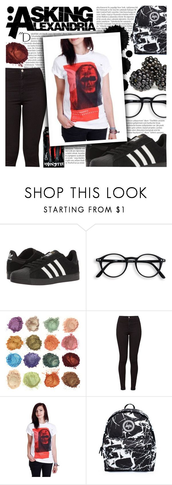 """""""A bottle of whiskey in my hand is like a f!cking gun against my head!"""" by isabeldizova ❤ liked on Polyvore featuring Balmain, adidas, American Apparel, Hype, INC International Concepts, StreetStyle, askingalexandria, bandtshirt and bandtee"""