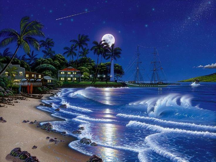 Красивые пожелания доброй ночи картинки с надписями и морскими пейзажами
