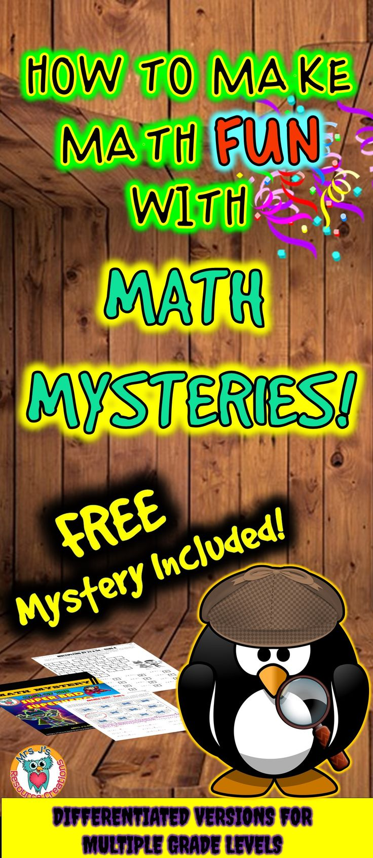 Make math fun with math mysteries! Blog post on how to use and differentiate with these fun activities. FREE Math Mystery included in versions for multiple grade levels!