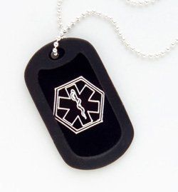 Medical Alert ID Dog Tag Necklace Black or Red - Custom Engrave! by Fashion Alert