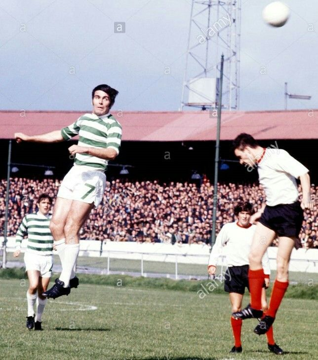 Clyde 0 Celtic 5 in Sept 1970 at Shawfield. John Hughes just over for Celtic #ScotDiv1