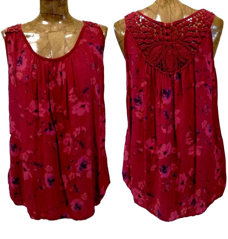 Maglia donna top lunga canotta leggera canottiera pizzo schiena colore Rosso
