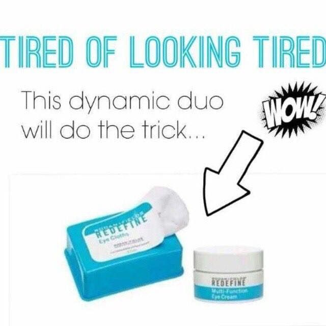 Tired of looking tired?  Rodan + Fields Redefine Eye Cloths gently remove makeup while depositing anti-aging peptides to reduce the appearance of lines, wrinkles and puffiness.  Redefine Multi-Function Eye Cream utilizes powerful peptides to reduce the look of crows feet, puffiness and dark circles.  60 day money back guarantee.  Message me on pinterest @ R+Fskincare101 for more info.