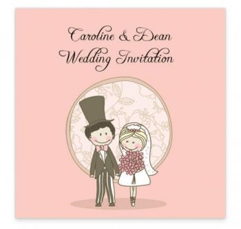 The quirky and pink flat wedding invitation design is a romantic illustration focusing on the happiness of a couple on their wedding day. This illustration has a quirky, fresh feel to it which will make your guests smile when they open their invite to your wedding.