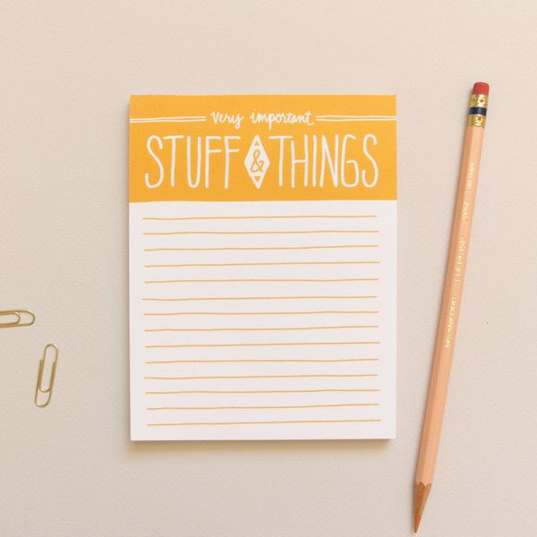 Because lists are so very important!!! I like the bright sunny yellow. Stuff & Things Memo Pad by Little Arrow