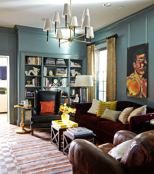 bookcase: Wall Colors, Interior, Teal Wall, Blue Wall, Living Room, Benjamin Moore, Templeton Gray