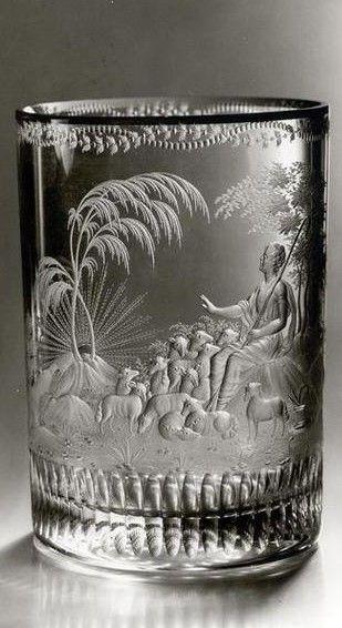Becher mit Darstellung eines Schäfers mit seiner Herde(1820-1830) | Ausführung: Hieronymus Hackel (um 1785 - 1844)