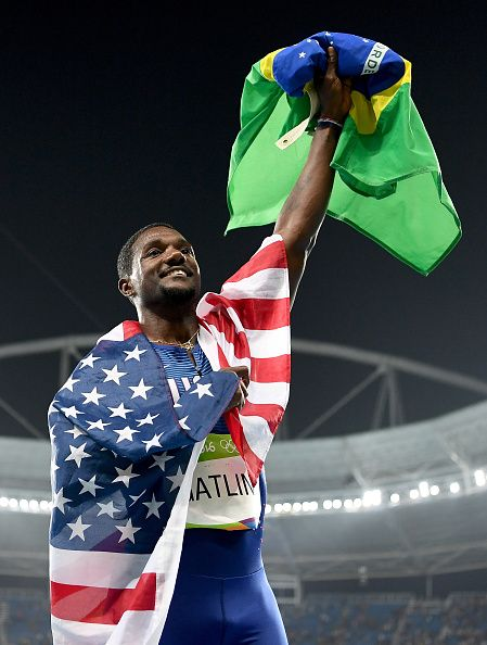 Justin Gatlin of the United States celebrates prior to being disqualified after…