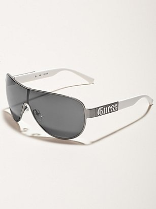 Shop men's eyewear at Guess.com today and be fashionable!Guess is known for their sexy, trendsetting and all american look with a touch of European. Check this item from their latest collection of men's eyewear. You need sunglasses that are just as cool as you. Shield shades are a sleek accent to divert the sun's rays and attract wanting stares.     Please visit: http://shop.guess.com/Catalog/Browse/Men%27s%20Accessories/Eyewear/