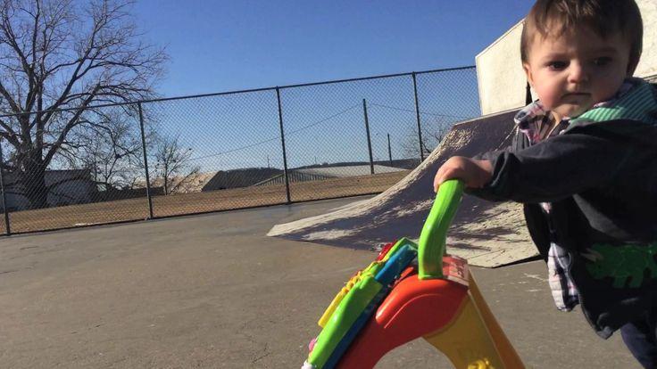 Infant using a walker edited like a 90's skate video