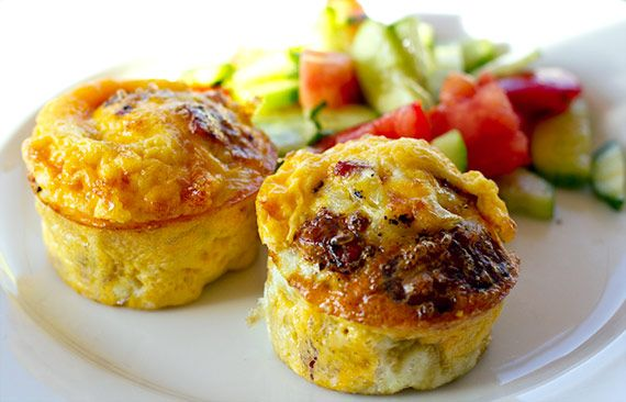 Egg Muffins with Onion Salami & Halloumi | Eat Drink Paleo