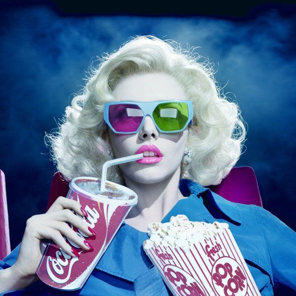 at the movies: Popcorn, Movie Makeup, Miles Aldridge, Movie Night, Classic Film, Editorial Photography, Glamour Photography, Fashion Photography, Cinema Ems Casa