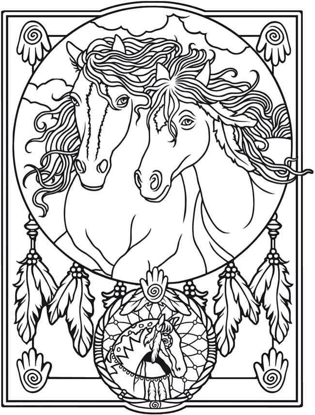 Welcome To Dover Publications Creative Haven Wild Horses Stained Glass Coloring Book Marty Noble