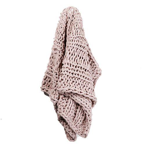 Chunky Knit Dusty Pink Rib Throw