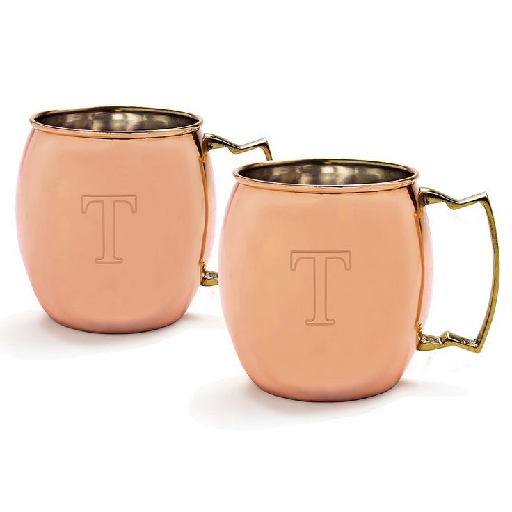 Cathy's Concepts 2-pc. Monogram Moscow Mule Copper Mug Set, Brown