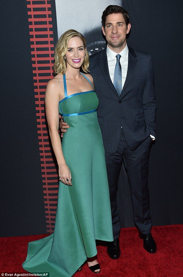 Handsome hubby: The actress was accompanied by husband John Krasinski...