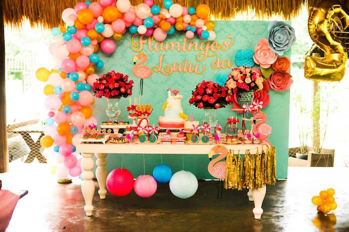 Colorful partyscape from Floral Flamingo Party at Kara's Party Ideas. See more at karaspartyideas.com!