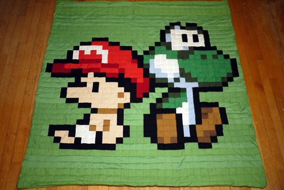 Baby Mario and Yoshi 8bit Quilt by 8bitHealey