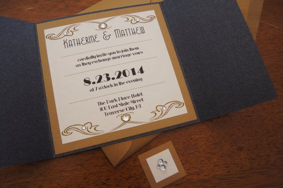 Wedding Invitation Set - Vintage Glamour - CUSTOMIZED SAMPLE Price - 6x6 Gate Card - Crystal - Black and Gold - Read for lower prices