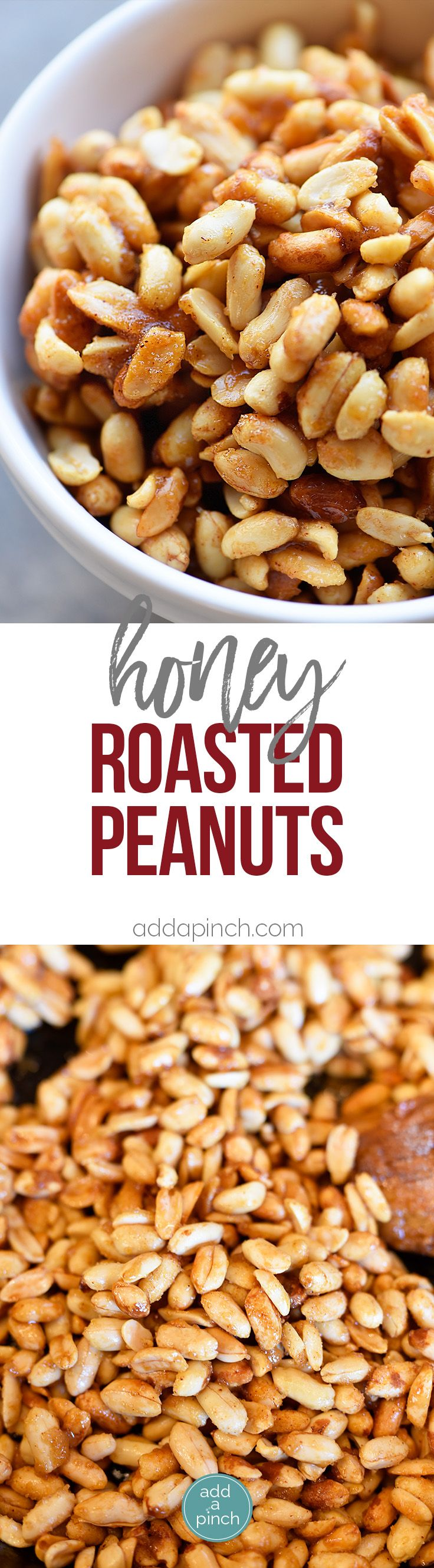 Honey Roasted Peanuts Recipe - Honey Roasted Peanuts make a delicious snack! Made with just four ingredients with one addition if you prefer them spicy! // addapinch.com